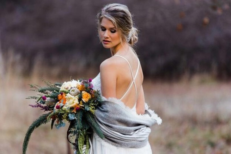Beautiful Bride with Fall Bouquet
